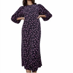ZARA Flowy Puff Sleeve Midi Dress NWOT Sz Medium